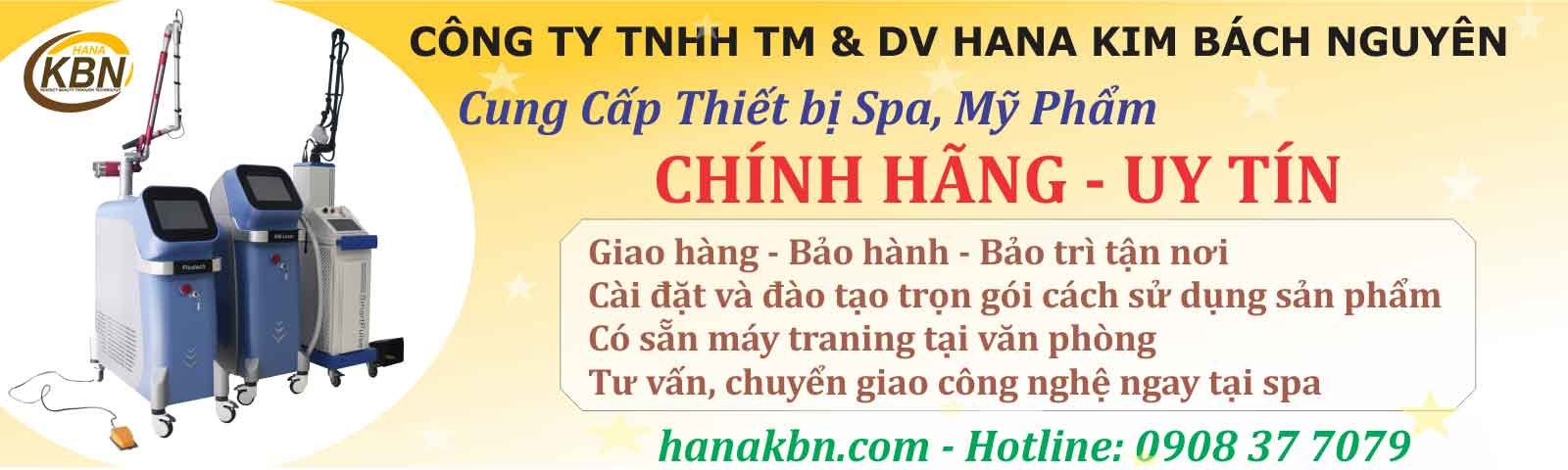 Thiết bị spa chính hãng tại Hana Kim Bách Nguyên