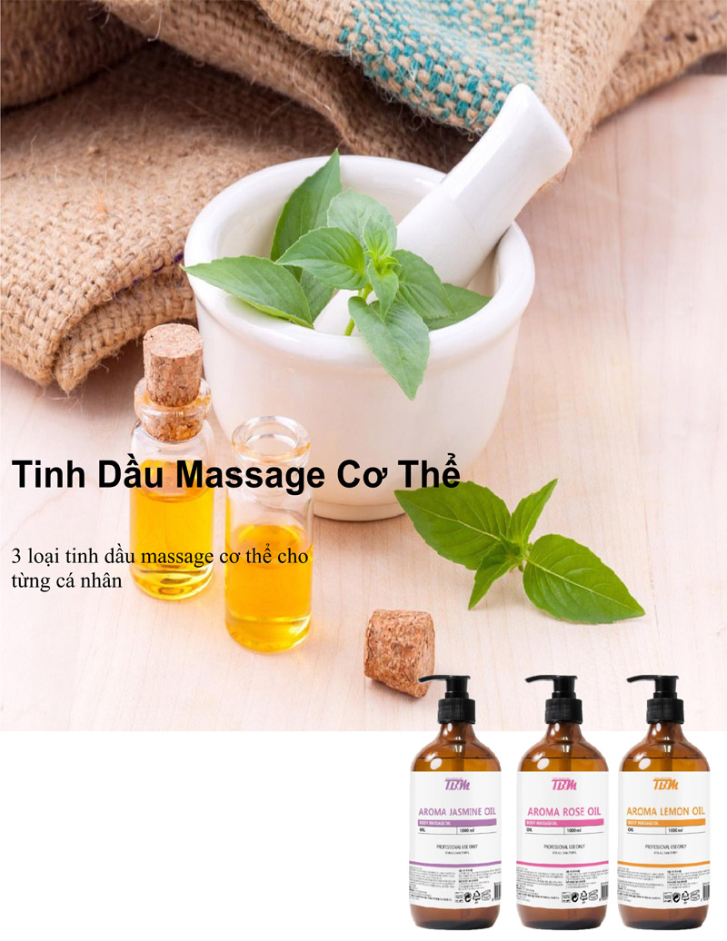bộ mỹ phẩm tinh dầu massage tbm