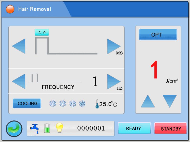 Hình ảnh giao diện máy triệt lông OPT Doctor Light