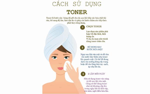 Hãy dùng toner để loại bỏ những bui bẩn và dầu thừa trên da mặt.